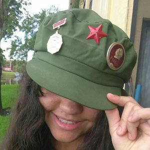 Accessories - Army Green Asian Military Oriental Cap Retro